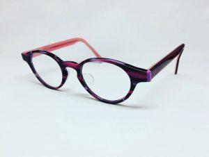 可愛いピンクのボストン型メガネ(当店工房オリジナルハンドメイド)