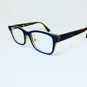 ネイビー&ブルーのバッファローホーンおしゃれメガネ