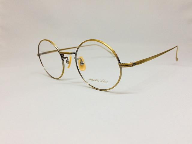 ブロンズカラーの軽量丸メガネ