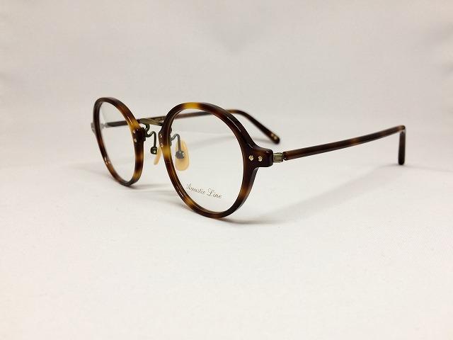 鼈甲カラーの軽量丸メガネ