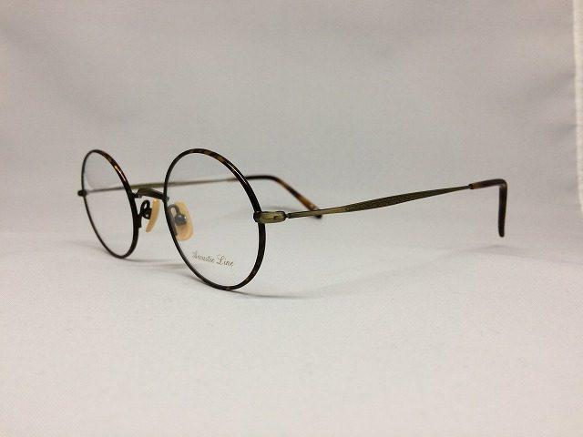 燻した茶色と鼈甲柄の軽量丸メガネ