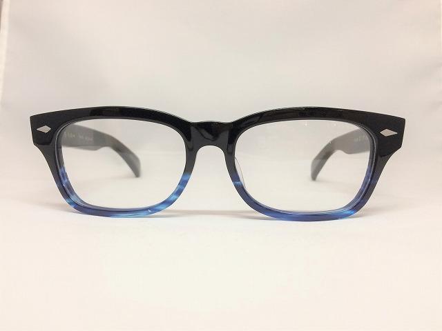 セルロイド素材の黒青太メガネ