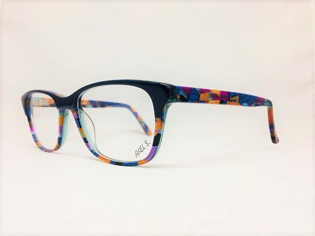 ブルーの色彩豊かなアートなメガネ