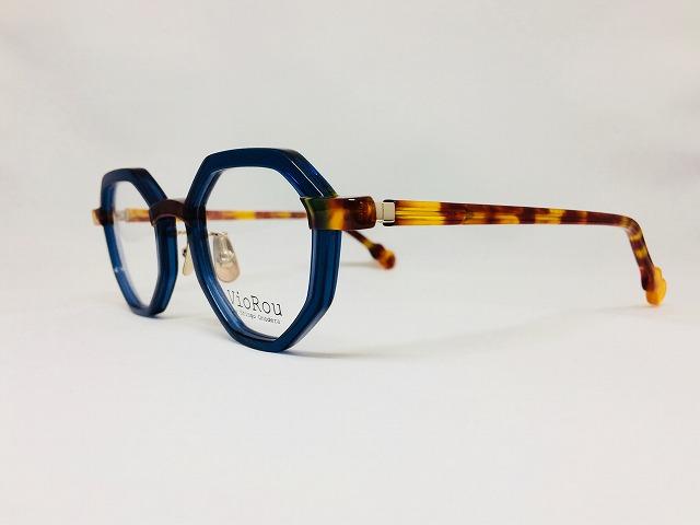 クリアネイビー&デミオレンジのクラウンパントメガネ