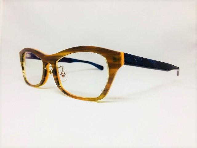 オレンジ&ブルーのメンズオーダーメイドメガネ