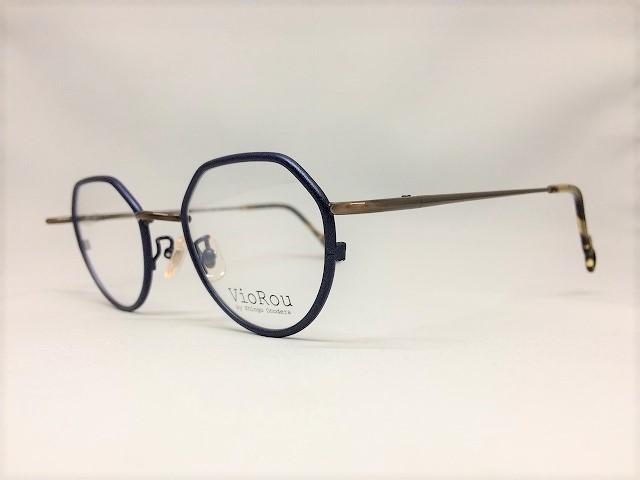 ネイビー&コパーの王冠型眼鏡
