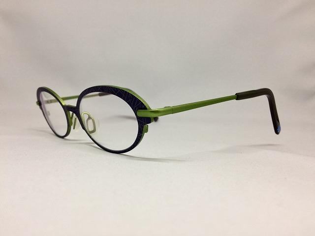 インディゴ&アップルグリーンの軽量デザインメガネ