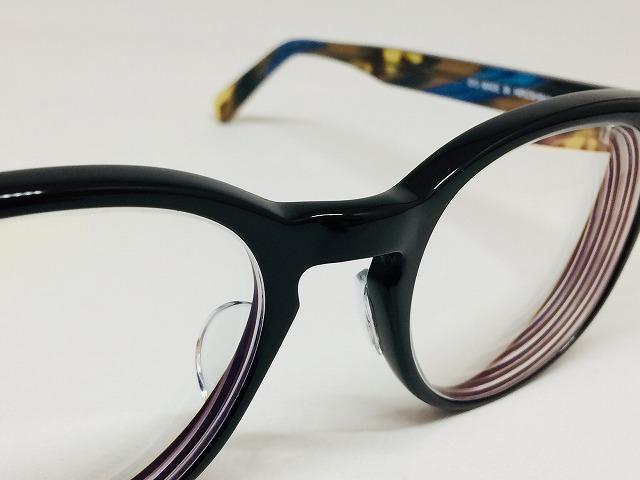 黒と青とべっ甲の ハンドメイドメガネ