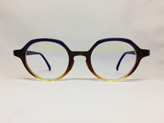 パープル&オレンジブラウンのデザインメガネ