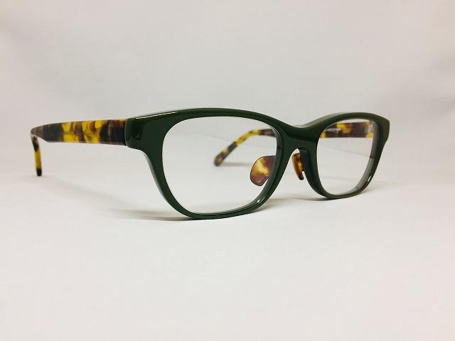 ディープグリーン&べっこう色がシックなメガネ(当店オリジナル)