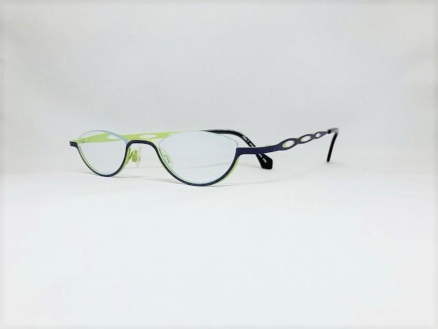 ダークパープルとライトグリーンの上ふちなしメガネ