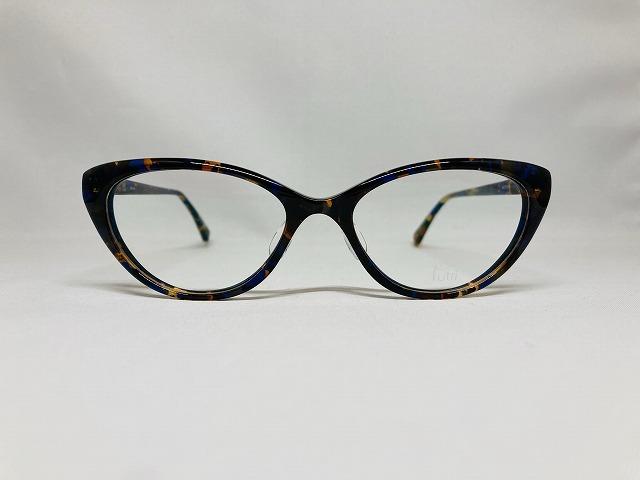 カラフルなフォックス型メガネ(ブラウン&ネオビーブルー)